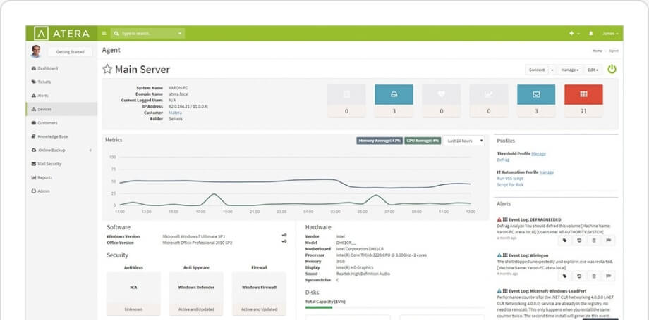 Atera RMM Software screenshot of Agent overview